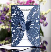 Invitaciones de la boda del corte del láser OEM en 41 colores Hollow personalizado con las flores dobladas tarjetas de invitación de boda personalizada BW-HK62