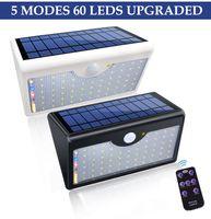 60 LED lámparas solares 1300lm Super brillante lámpara mejorada luces para jardín de pared al aire libre con cinco modos en una lámparas solares