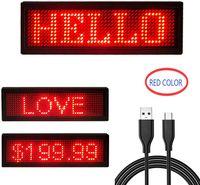 4411 빨간색 LED 이름 디스플레이 스크롤 텍스트 메시지 / 이름 카드 태그 기호 광고 보드 충전식 프로그래머블 LED 태그