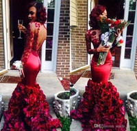 Burgundy Mermaid Prom Dresses With Floral Rose Skirt Lace Lo...
