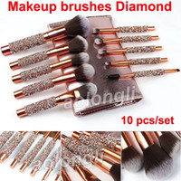 Make-up-Pinsel Diamond 10-tlg. Set Kosmetikbürste mit Beutel Professioneller Make-up-Pinsel Powder Eye Foundation Blush Eyeliner Brow Brushes Kit
