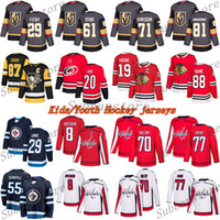 Juventude Crianças Jerseys 29 Fleury 61 Ston 71 Karlsson 87 Sidney Crosby 29 Laine 8 Ovechkin 19 Toovs 88 Kane Crosby Hockey Jersey