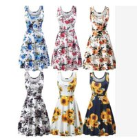 Sexy Cover Up Women Swimsuit Wear Print Dress V Neck High Wa...