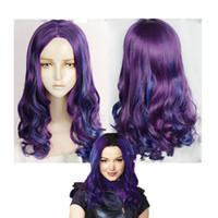 2020 Descendientes Lo nuevo 3 Mal sintético peluca hermosa del cabello ondulado largo de la princesa de Halloween pelo púrpura del pelo y de color azul