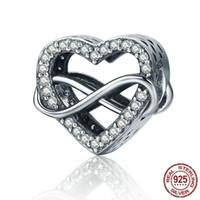 Orijinal 925 Ayar Gümüş Charm Romantik Sonsuz Aşk Kalp Köpüklü Boncuk Fit Bilezikler Kadınlar DIY Jewellry Yiwu Takı Fabrika