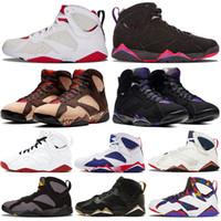 VII Raptro Kömür 7 JUMPMAN Patta X Ray Allen 7 s Hare Erkek Basketbol Ayakkabıları GMP Bordo Olymipc Mavi Eğitmenler Erkekler Sneakers ABD 7-13