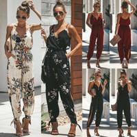 Kadınlar Boho Çiçek Kolsuz Katı Moda Vouge Tatlı Bölünmüş ilmek Tankı Tulum Romper bodysuit Kalem Pantolon Pantolon Soğuk