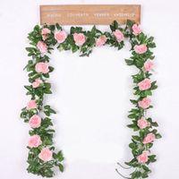 220 cm de largo flores artificiales de Rose vid de caña otoño telón de fondo la decoración de seda falso Rattan Garland para la boda Home Hotel Decoración