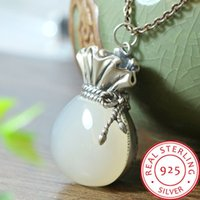 S925 silver white jade purse pendant national style Chinese ...