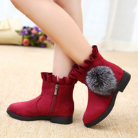 Fan di ragazze europee e americane Stivali corti AutunnoWinter Princess Snow Pattern Side Girls Snow Boots