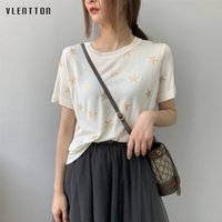 2019 New Fashion Knitted Female T-shirt o neck Print Ladies Top Spring summer Casual Loose Short Sleeve White Tshirt Women