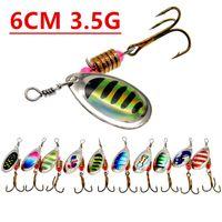 1pcs 6 centimetri 3.5g Spinner Pesca Ganci ami 6 # gancio di metallo Esche Esche esche artificiali Pesca Pesca Tackle Accessori K-005