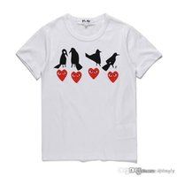 COM 최고 품질 화이트 재생 GARCONS 유니섹스 CDG 플레이 캐주얼 코튼 하트 옴므 네 버드 레드 포 하트 기본 티셔츠 짧은 소매 티셔츠