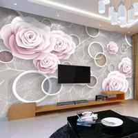Duvar Kağıtları Bırak Özel Duvar Kağıdı 3D Stereoskopik Daire Romantik Gül Çiçek Desen Backdrop Duvar Boyama Papel de Parede