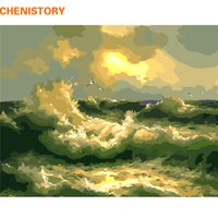 CHENISTORY Wave 60x75cm Frame DIY Painting By Numbers Modern Wall Art Picture Colorear por número Pintado a mano para regalo de decoración del hogar
