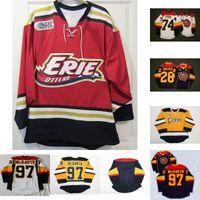 Erie lontras 28 Connor Brown 74 Dane Fox 97 Connor McDavid Mens Mulheres Juventude 100% Bordado Cusotm Qualquer Nome Nome Hóquei Jersey