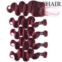 99J / Burgundy Red Color Body Wave Cabello humano recto 3/4 paquetes con encaje de cierre 4x4 brasileño indio virgen pelo teje extensiones