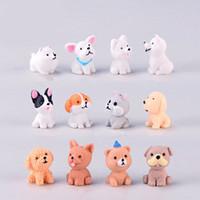 12 stile mini cane carino fata giardino figurine in miniatura decorazione della torta artigianato in resina ornamento gnomi muschio terrari decorazione