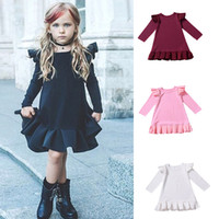 Baby girls Flying sleeve dress Spring Autumn Children ruffle...