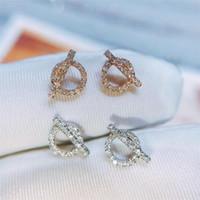 Yeni Geliş Ins En Çok Satan Basit Moda Takı 925 SilverRose Altın Dolgu açacağı Beyaz Safir cz Elmas Kadınlar Stud Küpe Hediye