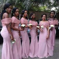 2020 Yeni Ucuz Afrika Gelinlik Modelleri Siyah Kız Kapalı Omuz Allık Pembe Gelinlik Modelleri Payetli Mermaid Düğün Konuk Elbiseler