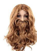 O ENVIO GRATUITO de +++ + Amante do natal marrom barba e peruca Fantasia partido mascarada bens Anime rainha Cosplay perucas de cabelo rápido entregar