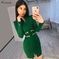 Ocstrade Noel Partisi 2019 Yüksek Kalite Yeni Moda Kadınlar Süslenmiş Yeşil Seksi Bandaj Elbise Uzun Kollu Bodycon Elbise