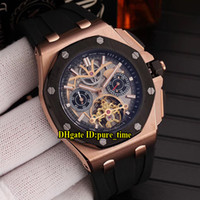 8 Color Rose Gold Two Tone Case 26582 Skeleton Dial Tourbill...