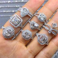 Choucong única joyería de lujo Real 925 Sterling Silver Ring White Topaz CZ Diamond Gemstones Mujeres de la boda de la boda para los amantes