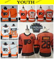 2019 Estádio série juvenil Philadelphia Flyers 28 Claude Giroux Crianças Hockey Jerseys 53 Shayne Gostisbehere Início laranja camisetas C Remendo