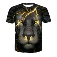 2019 summer lightning lion 3d printed casual couple T- shirt ...
