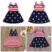 Vestidos Roupa Menina da bandeira American Baby 4th Of July Vestido Bow listrado Estrela Princess Dress Meninas Independência Vestido Dia Verão Vestido de Verão C5742