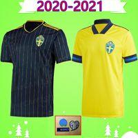 2020 2021 Schweden Fußball Jerseys steuern gelb weg schwarz 20 21 sverige FORSBERG Lindelof BERG IBRAHIMOVIC Nationalmannschaft Fußball-Uniformhemd