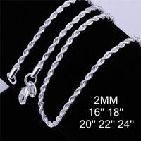 Закрытые серебряные серебряные серебряные цепи (16 18 20 22 24) дюйма * 2 мм Flash Витая веревка ожерелье SN226 TOP 925 Серебряная пластина цепи Ожерелья Ювелирные Изделия