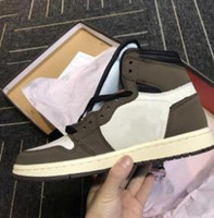 Com Box 2019 Shoes Travis Scotts X 1s alta OG TS SP 1 Men Basquete Sail escuro Universidade Mocha Red Sneakers grátis Shippment