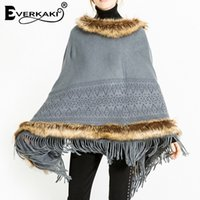 여성용 케이프 Everkaki Bohemian Tassels 모피 니트 자켓 코트 여성 두꺼운 양모 따뜻한 단단한 가짜 망토 코트 여성 2021 겨울