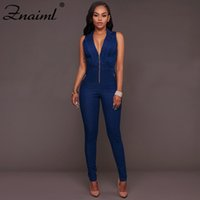 Casual Denim mujeres Jumpsuit Deep V cremallera Leeveless Skinny Jeans monos Sexy Party Club monos Vogue Rompers Streetwear