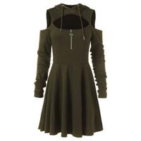 Art- und Weisekalte Schulter-Frauen-Kleid-weibliches geöffnetes Schulter-langes Hülsen-mit Kapuze Schwingen-Reißverschluss-Kleid plus Größe kleidet Robe femme Heißer Verkauf