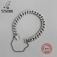 S'STEEL 925 braccialetti d'argento per le donne gli uomini Pulseras Mujer Moda 2019 Plata regalo degli amanti Silber 925 Schmuck monili punk CX200706