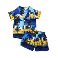 하와이 스타일 2 개짜리 소년 의류 캐주얼 유아 어린이 보너스 여름 복장 휴가 버튼 옷깃 셔츠 + 반바지 코코넛 나무 인쇄 세트
