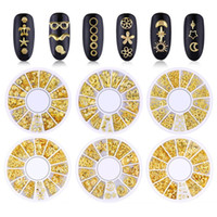 Tamax Mixed Style 3D Gold Metal Rivets Nail Art Round Heart ...