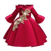 vestidos de flores vestido de fiesta de los bebés del otoño bordado de la llamarada de la manga para niños princesa vestidos de Navidad de los niños de cumpleaños C5724