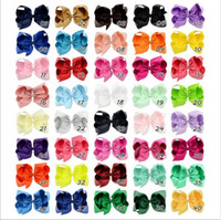 40 Colors 6 Inch Colorful Big Hair Bows Solid Hairpins With ...