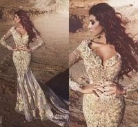 새로운 아랍어 인어 긴 소매 레이스 이브닝 드레스 딥 브이 넥 비즈 두바이 이브닝 가운 Applied 두바이 이브닝 가운 Vestidos De Fiesta WLF3