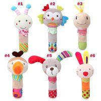 15-18cm los juguetes del bebé varita mano felpa perro animal de la historieta juguete conejo de juguete basculante búho al por mayor de campanas bebé abeja mano