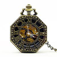 Steampunk Hand Wind Vintage Orologio da tasca meccanico Scheletro Nero Bianco Mani Fob Orologio da uomo con catena di numeri romani regalo
