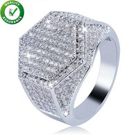 Hip Hop Jewelry Mens Ring Diamond Rings Luxury Designer Oro argento ghiacciato Bling Bling Pave CZ Geometry Finger Ring Charms Moda matrimonio