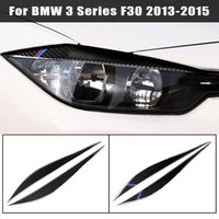 من ألياف الكربون الديكور المصابيح الأمامية الحواجب الجفون تريم تغطية ل BMW F30 2013-2018 3 اكسسوارات سلسلة ملصقات السيارات الخفيفة