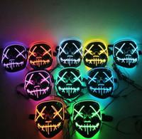Cadılar Bayramı Led Parlayan Maske V Korku Hayalet Maske Aydınlatma EL Tel DJ Bar Joker Yüz Muhafızları Veil Costome Parti Cosplay Maskeler GGA2748