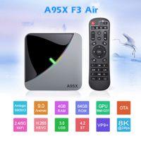 Android 9.0 RGB 라이트 스마트 TV 박스 Amlogic S905X3 USB3.0 1080P H.265 4K 60FPS Google Play A95X F3 Air 8K